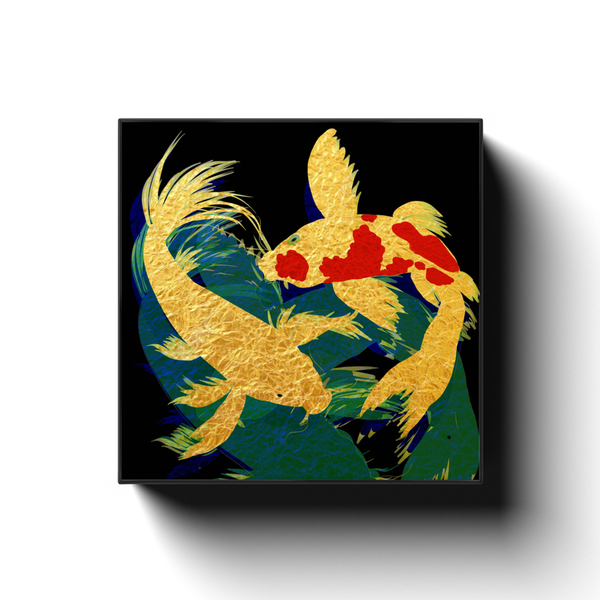 Golden Koi in Dark Waters by Abi Cunningham Square Canvas Wrap
