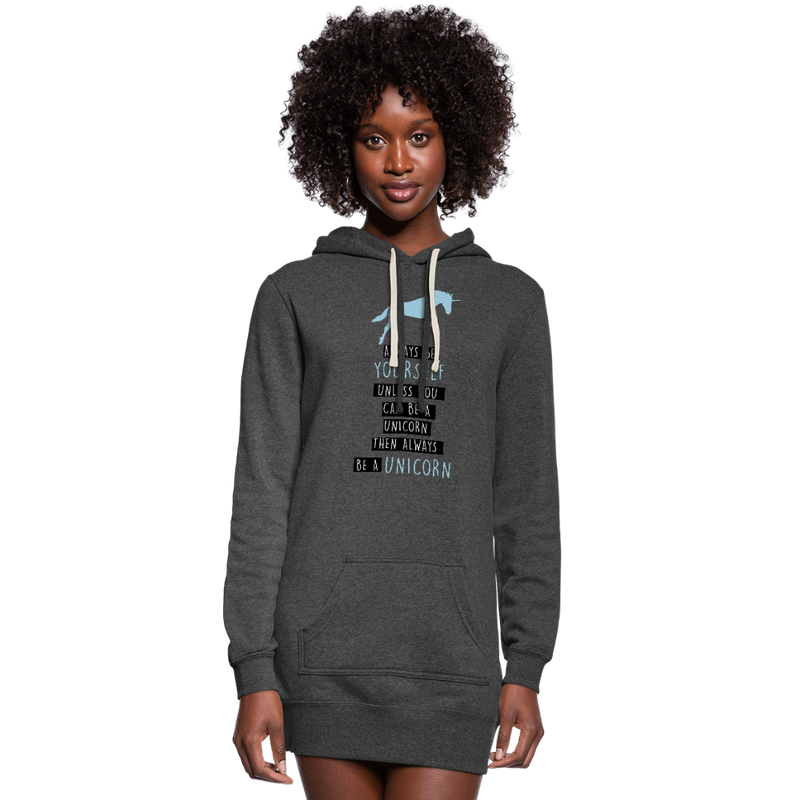 Always Be a Unicorn Women's Hoodie Dress - heather black
