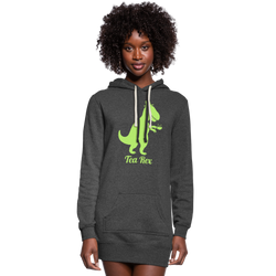 Green Tea Rex Women's Hoodie Dress - heather black