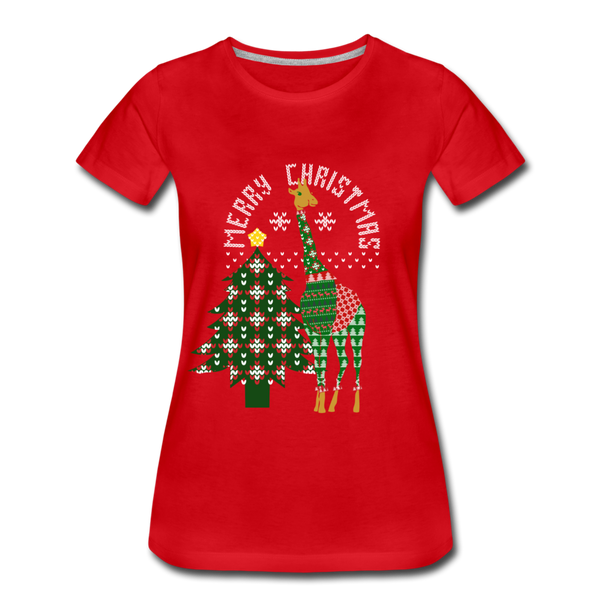 Giraffe In An Ugly Christmas Sweater T-Shirt - red