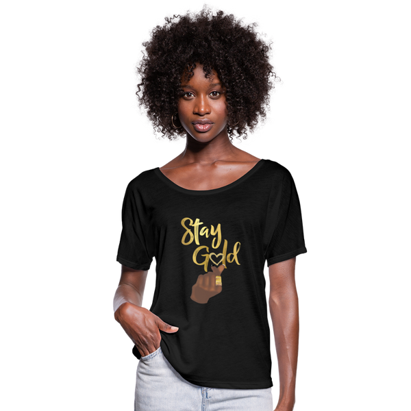 Stay Gold Women's Flowy T-Shirt - black