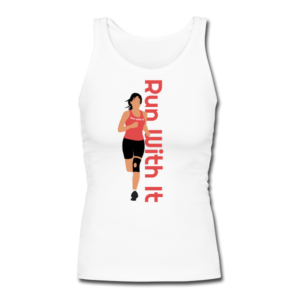 Run With It - Jen | Women's Longer Length Fitted Tank - white