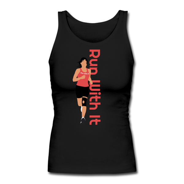 Run With It - Jen | Women's Longer Length Fitted Tank - black