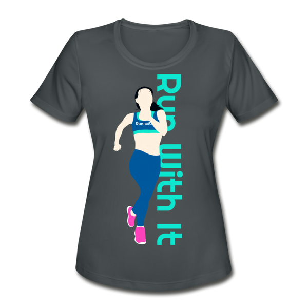 Run With It - Amy | Moisture Wicking Performance T-Shirt - charcoal