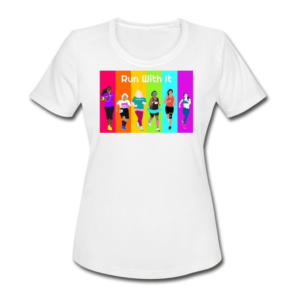 Run With It Rainbow | Moisture Wicking Performance T-Shirt - white