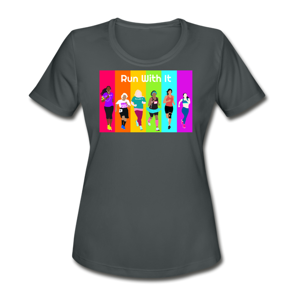 Run With It Rainbow | Moisture Wicking Performance T-Shirt - charcoal