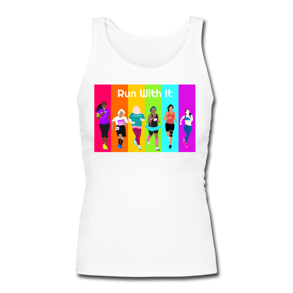 Run With It Rainbow | Longer Length Fitted Tank - white