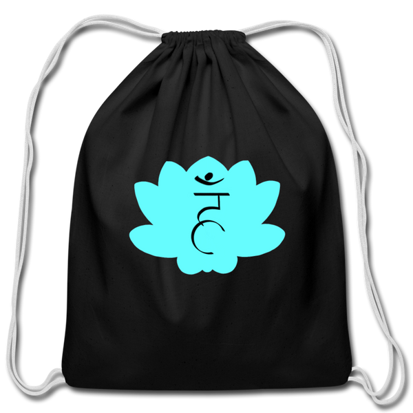 Strike a Pose - Throat Chakra | Cotton Drawstring Bag - black