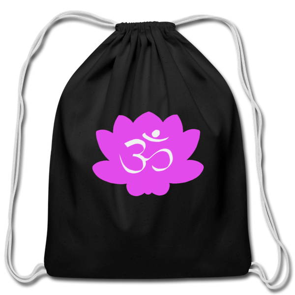 Strike a Pose - Crown Chakra | Cotton Drawstring Bag - black