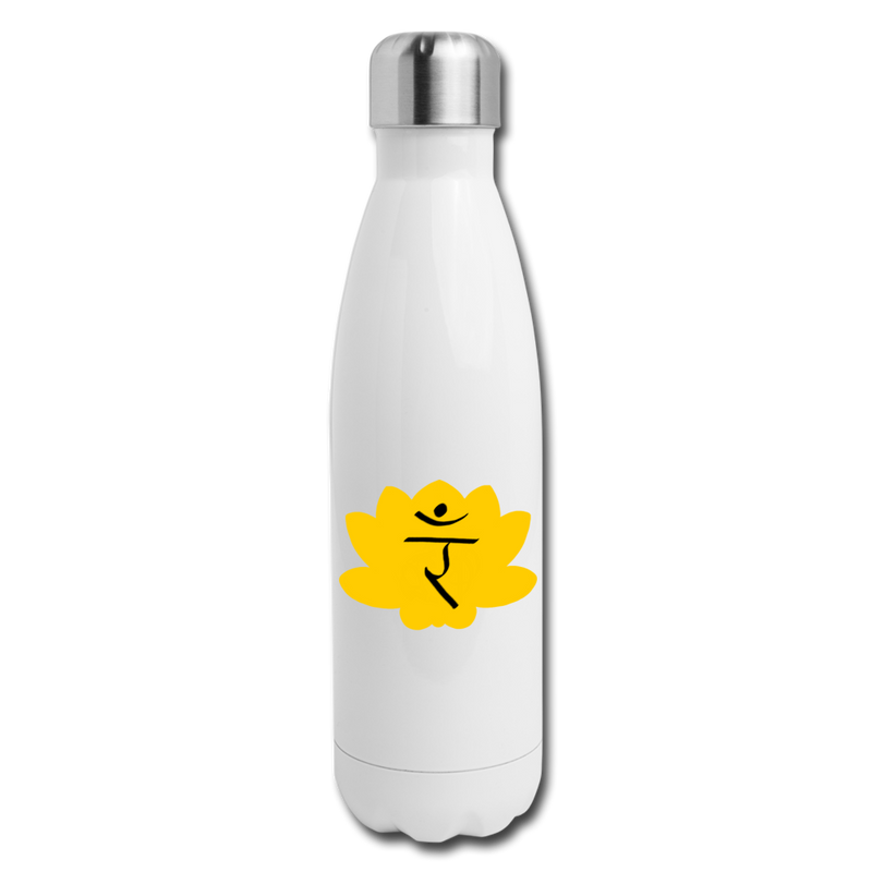 Solar Plexus Chakra Insulated Stainless Steel Water Bottle | Abi C Designs - white