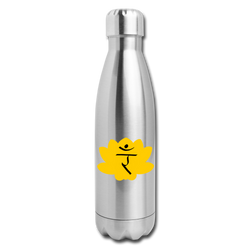 Solar Plexus Chakra Insulated Stainless Steel Water Bottle | Abi C Designs - silver