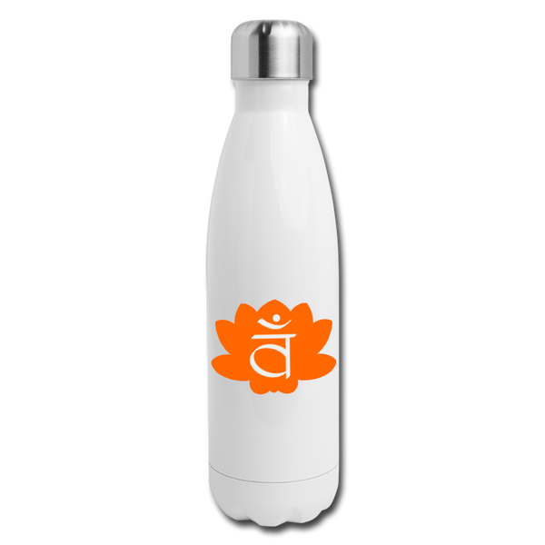 Sacral Chakra Insulated Stainless Steel Water Bottle | Abi C Designs - white