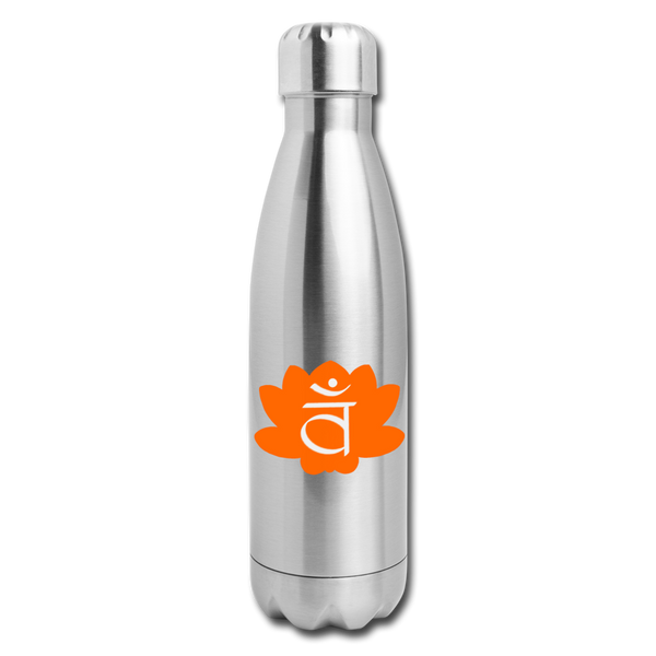 Sacral Chakra Insulated Stainless Steel Water Bottle | Abi C Designs - silver