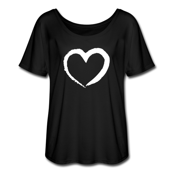 Passion Heart Flowy T-Shirt - black