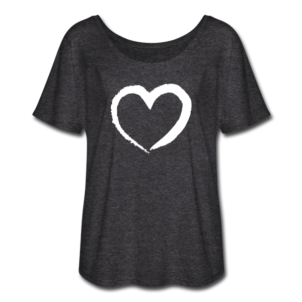 Passion Heart Flowy T-Shirt - charcoal gray