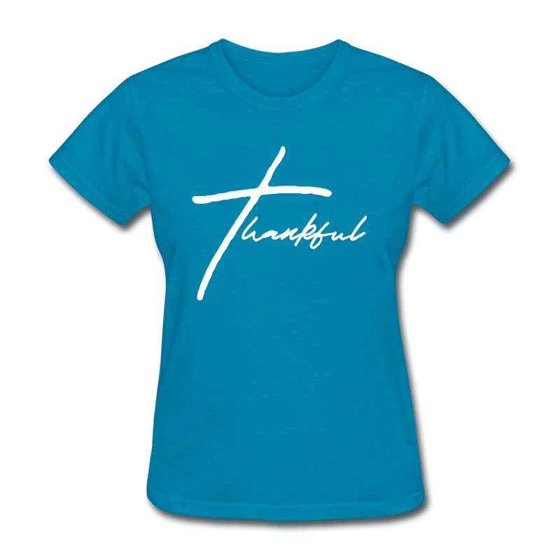 Thankful Tee | Abi C Designs - turquoise