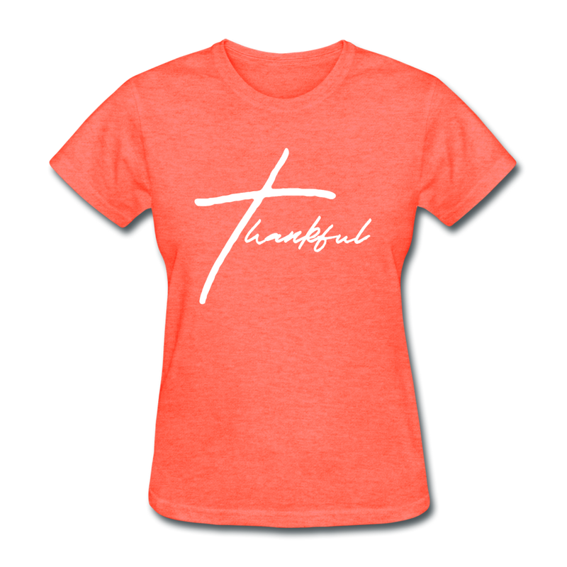 Thankful Tee | Abi C Designs - heather coral