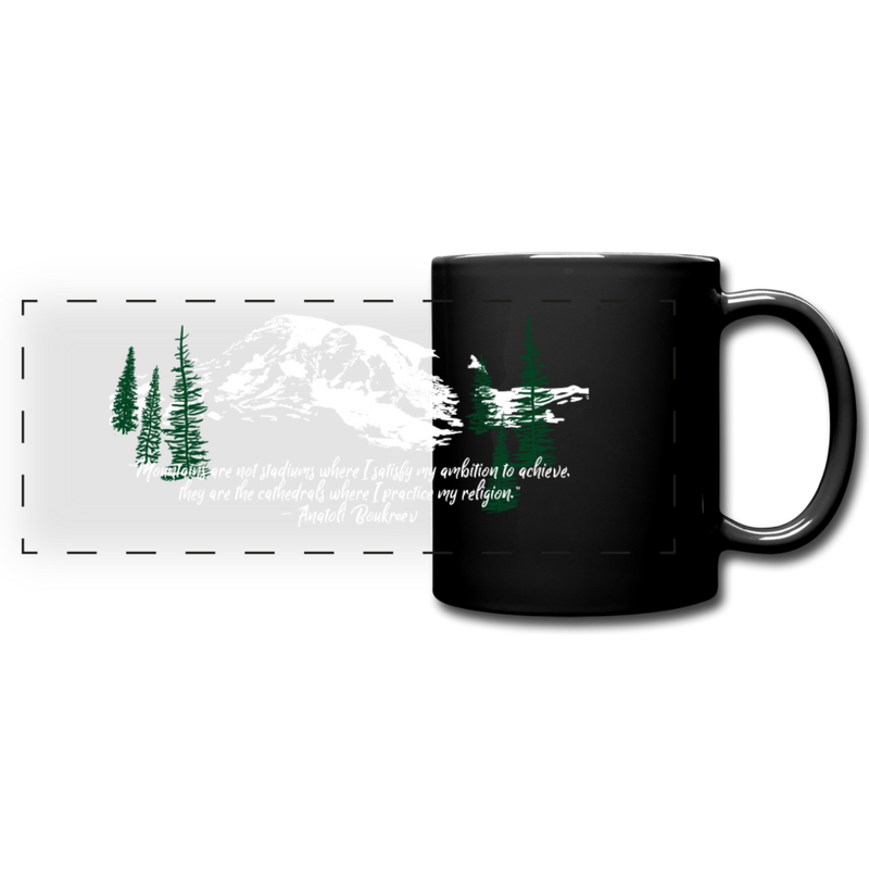 """Mountains are not stadiums where I satisfy my ambition to achieve, they are cathedrals where I practice my religion."" White mountain peak on a black mug"