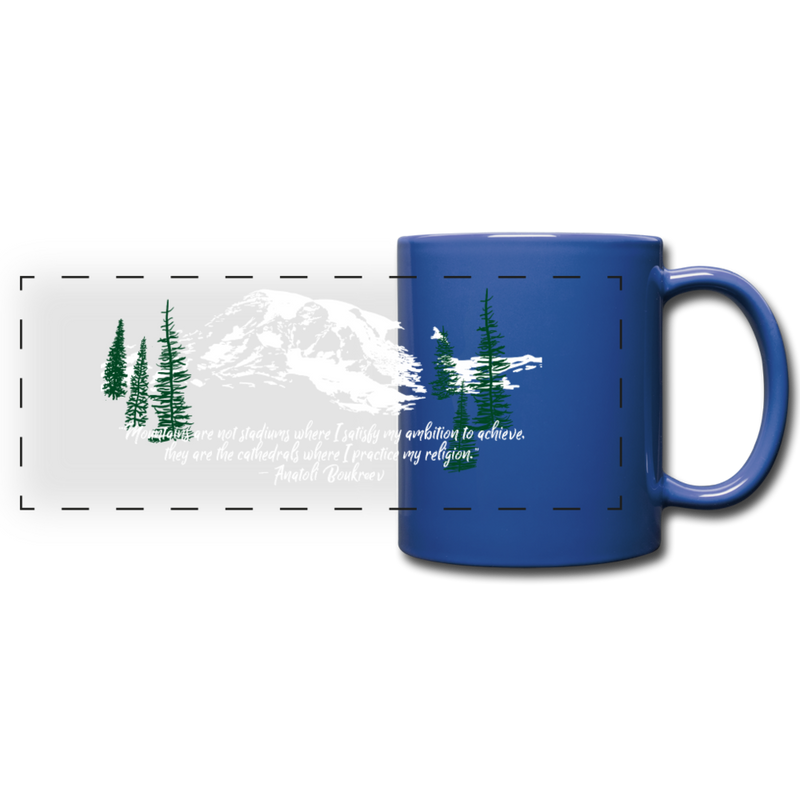 Mountains are my Cathedrals Mug | Just Abi - Elegant white snow outline over royal blue negative space