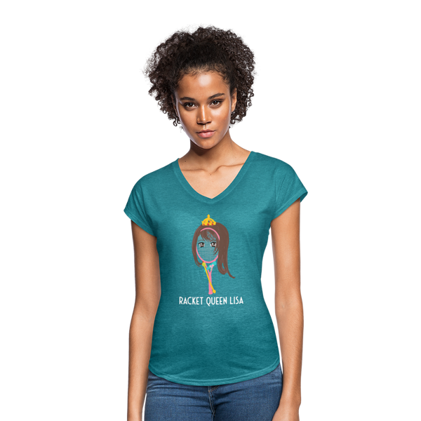 Racket Queen Lisa Women's Tri-Blend V-Neck T-Shirt - heather turquoise