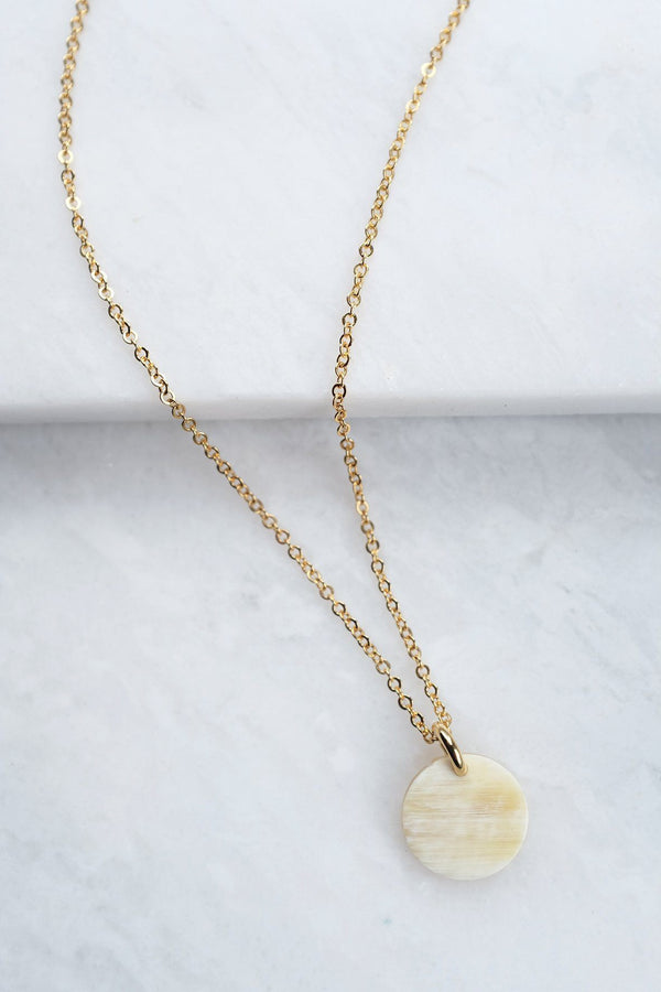 Thanh Hoa Buffalo Horn Minimalist Circle Charm Necklace