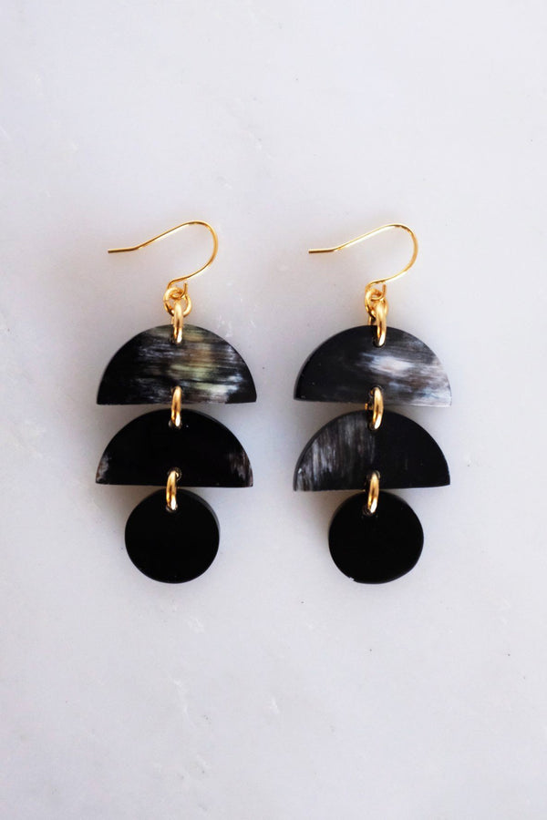 Cat Ba Crescent Drop Buffalo Horn Dangle Earrings