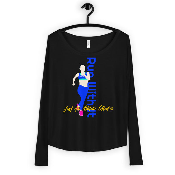 Run With It - Song | Black Flowy Viscose Blend Long-Sleeve Tee | Just Abi Athletic Collection