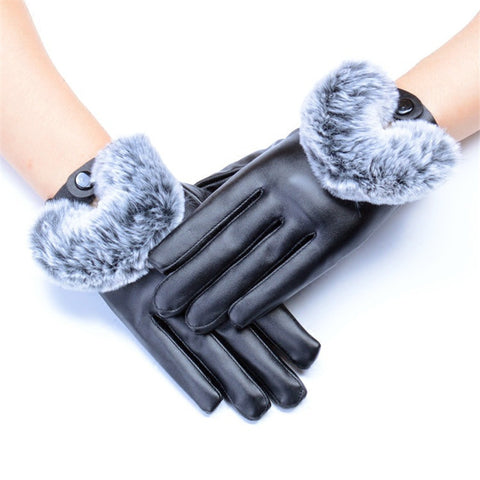 PU Leather Gloves with  Imitation Rabbit Hair for Women