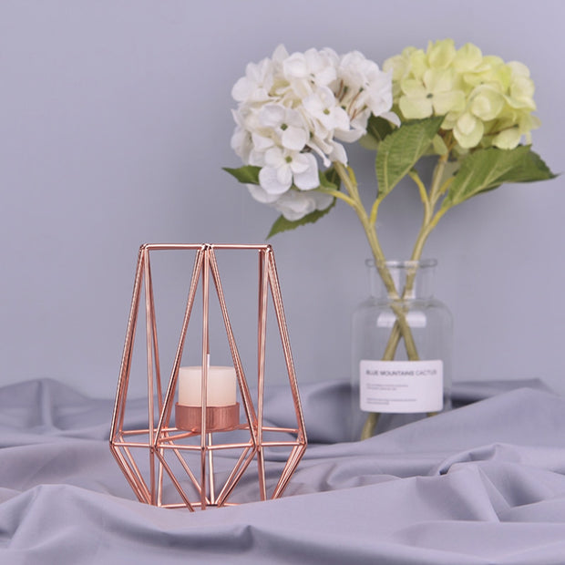 Wrought Iron Geometric Candle Holder
