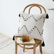 White Black Moroccan Geometric Tassels Pillow