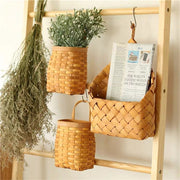 Woven Storage Hanging Wall Wood Basket