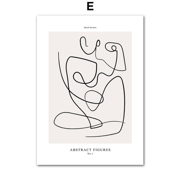 Minimalist Line Face Abstract Neutral Muted Tones Canvas Print