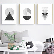 Black White Marble Geometric Abstract Canvas