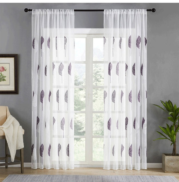Embroidered Tulle Window Curtain