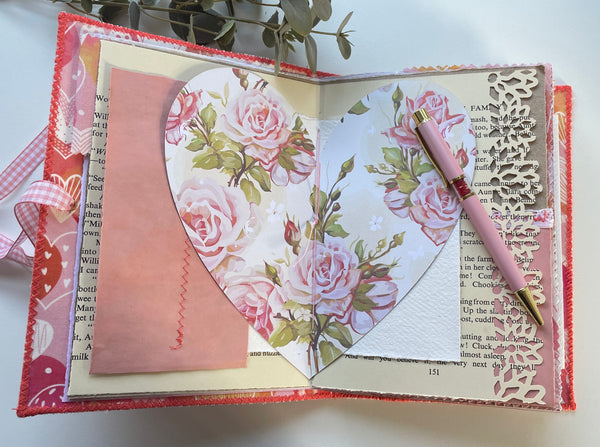 Handmade Fabric Cover Memory Keeping Journal - Pink Valentine's Journal