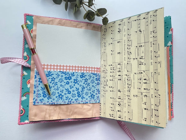 Handmade Fabric Cover Memory Keeping Journal - Rainbows