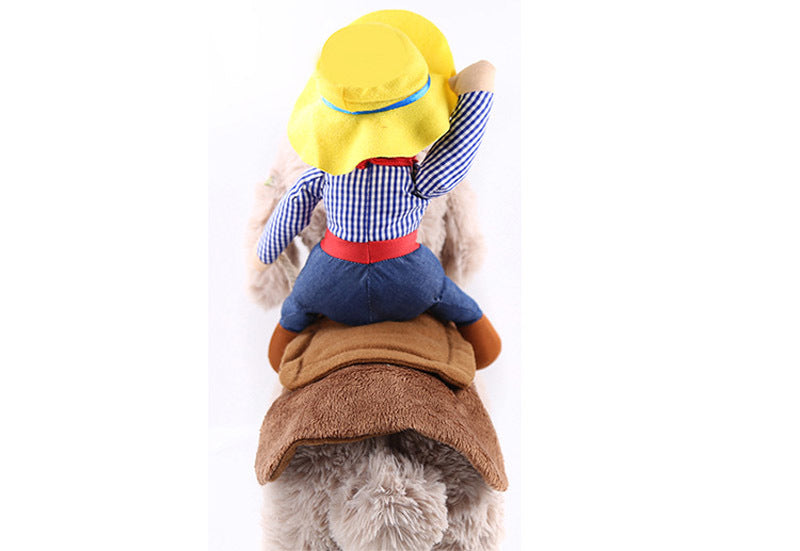 Cowboy Dog Costume Halloween Clothes Riding-horse Outfit Cutie Pets