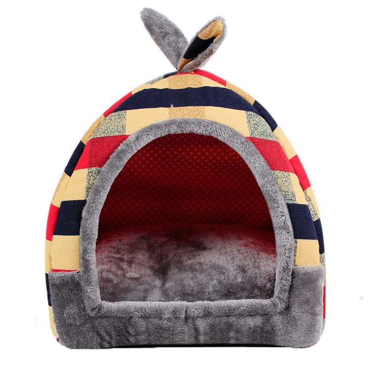 Flag Pattern Small Dog House Winter Warm Cat Bed Cutie Pets