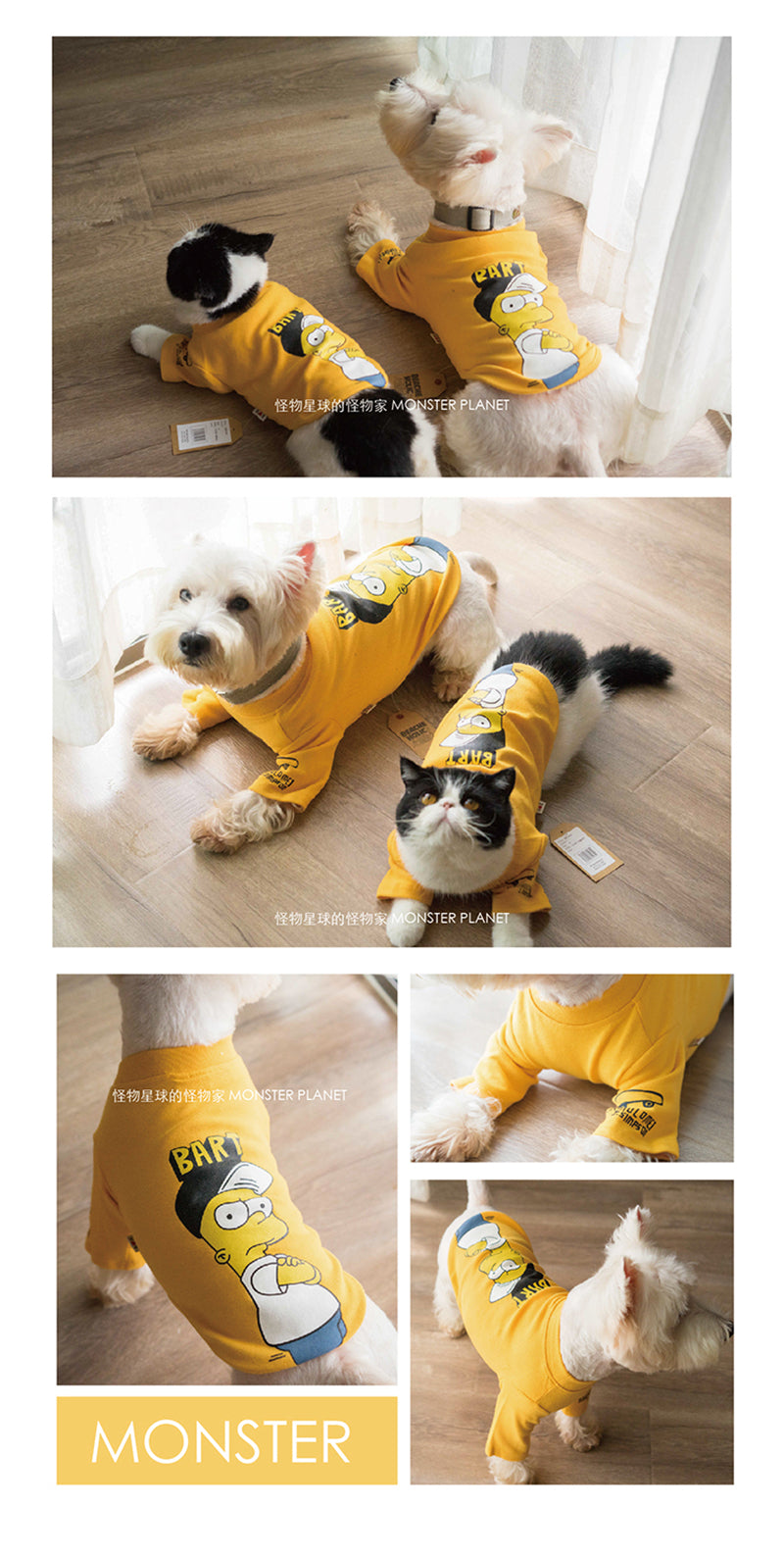Yellow Winter Dog Sweaters Cartoon Design Clothes Cutie Pets