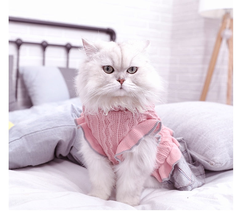 Cat Puppy Outfit Pet Dress Coat Winter Soft Sweater Clothing Cutie Pets