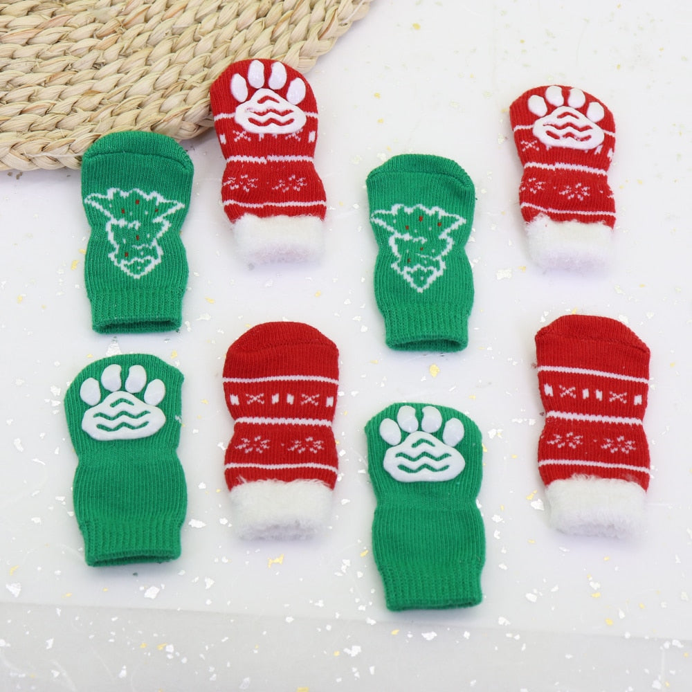 4pcs Cute Dog  Pets Knit Socks Shoes Cutie Pets