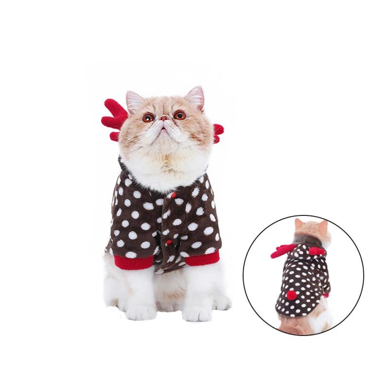 Dog Cat Coat Warm Hoodies Polka Dot Elk Flannel Pajamas Cutie Pets
