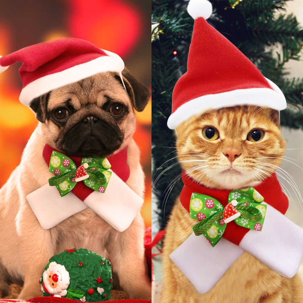 Christmas Dog Cat Hat Scarf Set Pet Accessories Cutie Pets