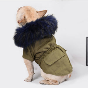 Warm Winter Dog Jacket Hooded Fur Pets Dogs Clothing