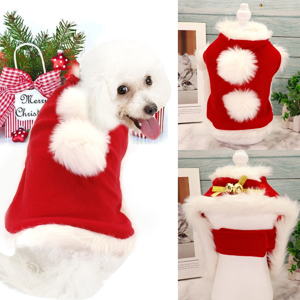 Christmas Pet Dog Cat Costume Winter Santa Puppy Cat Coat Cutie Pets