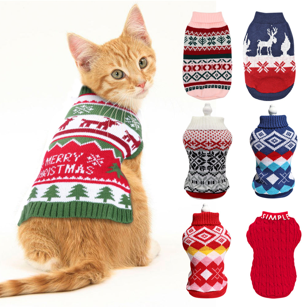 Christmas Pet Cat Sweater Winter Warm Clothes Cutie Pets