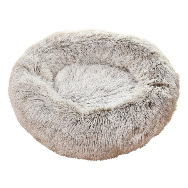 Round Cozy Plush Cat Bed House Soft Winter Dog Bed Cutie Pets