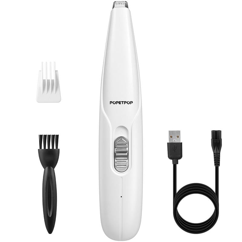 Pet Paw Hair Clipper Rechargeable Pet Hair Grooming Kit Adjustable Multi-Functional Dog Feet Hair Shaver (White)