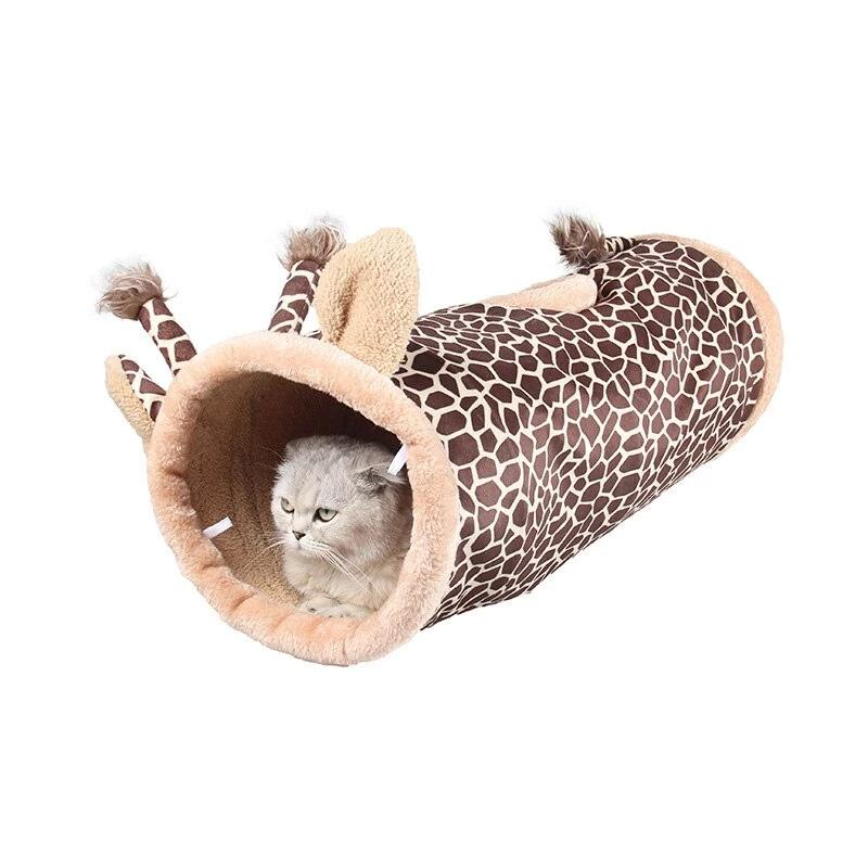 Cartoon Pet Cat Tunnel Winter Cat Bed House Cat Toys Fleece Warm Cutie Pets