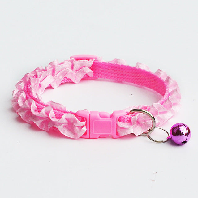Bright Color Pet Lace Collars With Bells Cutie Pets
